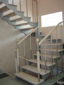 Лестница маршевая белая